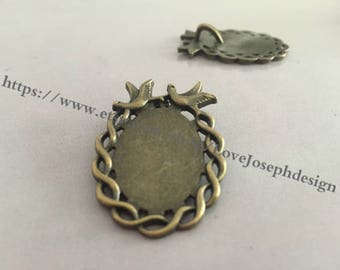 wholesale 20Pieces /Lot Antique Bronze Plated 18mmx25mm cabochon trays charms