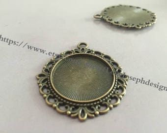 wholesale 100 Pieces /Lot Antique Bronze Plated 25mm cabochon blanks trays charms (#0356)