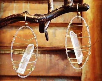 Basket Crystal Quartz Points Earrings