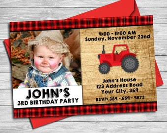 Tractor birthday theme, Tractor invitation, Tractor and Red Barn Wood Birthday Party, Red Tractor Farmer Birthday Invitiation   RT_3