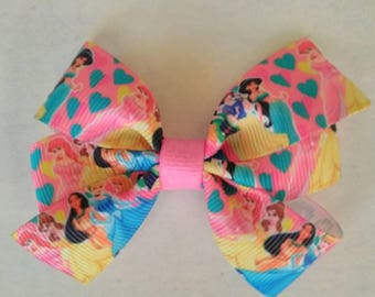 Disney Princess inspired hair bow, Character hair bow, hair bow, Pocahontas hair bow, princess Belle hair bow, Cinderella pigtail hair bows