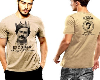 Pablo Escobar T-shirt King Of Cocaine Crown Medellin Cartel Plata O Plomo 2 SIDED PRINT