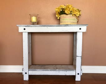 Rustic Handcrafted Reclaimed Console Table - Self Assembly - Absolute White