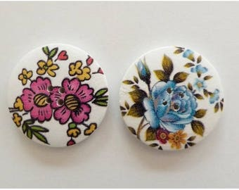 2 round buttons, sewing, scrapbooking large flower 4 cm