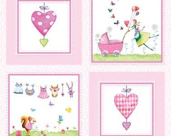 Red Rooster A BUNDLE OF PINK Cotton Fabric Panel