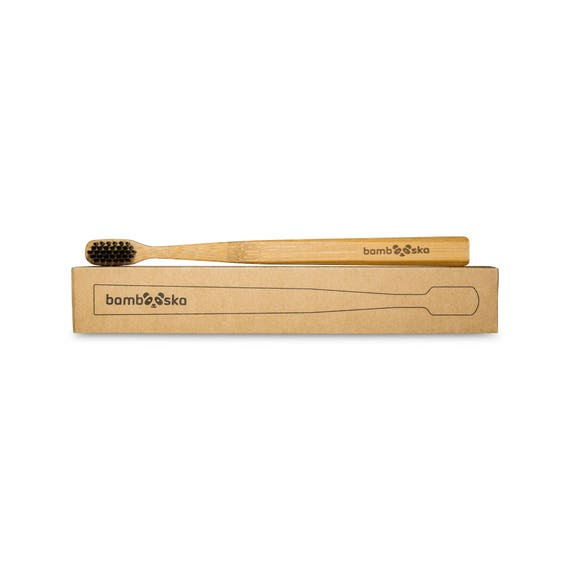 Set of four bamboo toothbrushes with bamboo bristles