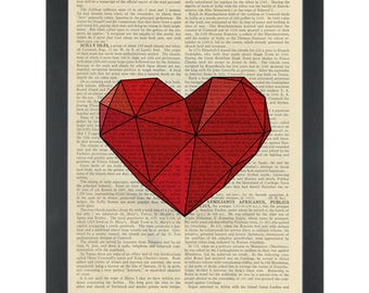 Red polygon heart Dictionary Art Print