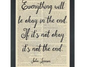 Music John Lennon lyrics Everything will be ok Dictionary Art Print
