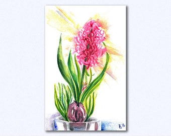 Hyacinth watercolor, Flower print, Floral Art Print,watercolor hyacinth print, watercolor flower print, Watercolor Flowers, Digital Download