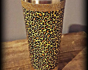 Leopard print fabric stainless steel epoxy tumbler with glitter trim