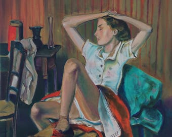 Oil on canvas board.- Balthus.- riproduction.