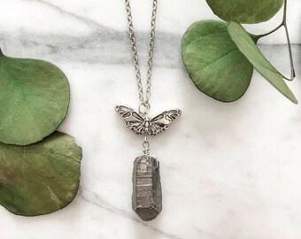 Hematite Butterfly Necklace/ Silver Boho Neclace/ Butterfly Boho Necklace
