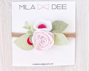 Strawberry Felt Flower Nylon Headband, nylon headband, felt flower, felt flower headband, pink flower, baby headband, girl headband