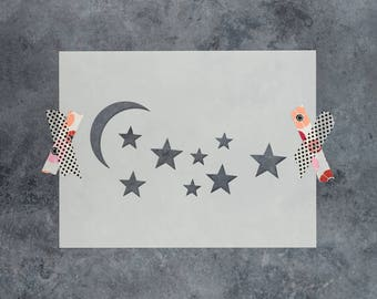 Moon And Stars Stencil - Reusable DIY Craft Stencils of the Moon And Stars