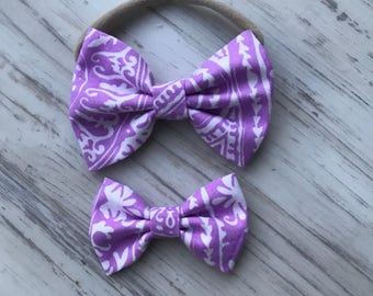 Violet Pink Spring Bow - Kids and baby Hair bows- Hairclips - baby bows- custom baby gift- spring headband