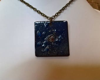 Blue enameled copper with crystal encrusted blue and gold pendant necklace