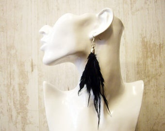 Feather Earrings Boho earrings Gypsy Dangle feather earrings Black feather earrings Gypsy earrings Boho earrings Gypsy Bohemian jewelry