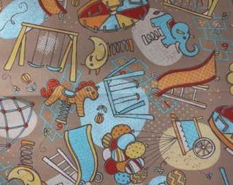 fabric coupon child baby 45 x 53 cm SQUARE quarterJEUX fat multicolored Taupe background