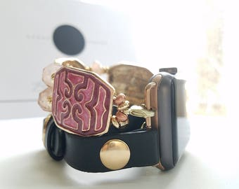 Apple Watch Band, Apple Watch Band 38mm, Apple Watch Band 42mm, Black Leather Wrap With Gold studs & Red, Gold, Rose Gold Beaded Bracelet