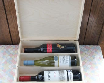 Triple Wine gift box. Wooden Wine Box. Wine Gift Box. Triple wine box. Triple Presentation box. Wine box with metal clasp. Wine Lover gift.