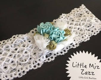 Lace Headband with Turquoise flower detail