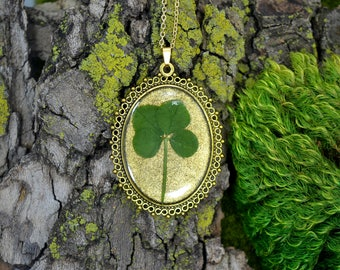"Genuine 4 Leaf Clover Cameo Necklace [BC 012] /Gold Tone 18"" Necklace / White Clover Pendant / Triforium Repens / Good Luck Charm"