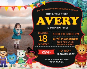Daniel Tiger Birthday Invitation, Daniel Tiger Birthday, Boy Birthday, Girl Birthday, Daniel Tiger, Mister Rogers, Tiger Party