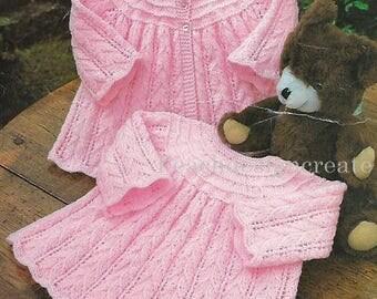 knitting pattern, baby girl's, smock dress, coat, pdf, digital download, instant download
