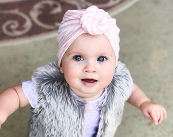 Pink stiped, baby turban, knot turban, baby hat