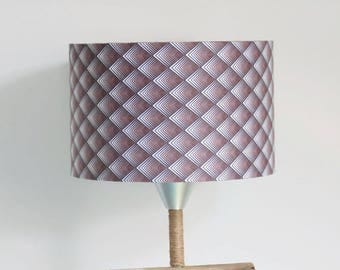Lampshade Argyle geometric Brown gradient - 28 cm - cylindrical cylinder - round - handmade - handmade