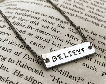 Believe Necklace Personalised Hand Stamped Jewellery UK Seller