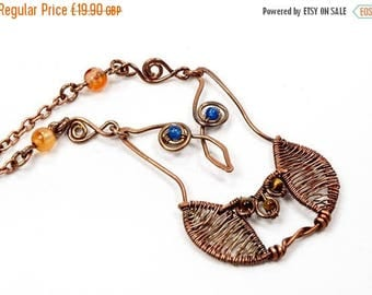 CLEARANCE Copper Agate and Tiger's Eye Owl Necklace