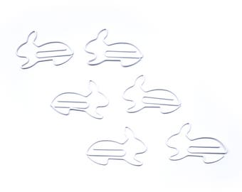 100 Count Bag of Bunny Rabbit Shaped Paper Clips - Available in WHITE or BLACK