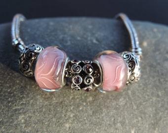 Bracelet Charms rhinestone pink beads