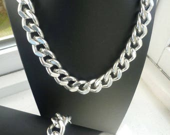 Silver Chunky Chain Necklace, Chunky Chain Jewelry, Silver Chunky Chain Links, Chunky Jewelry