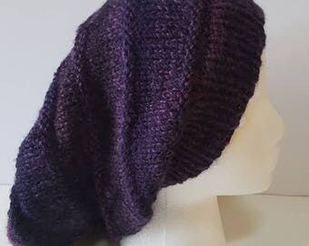 Dark Purple and Black Simple Slouchy Hat
