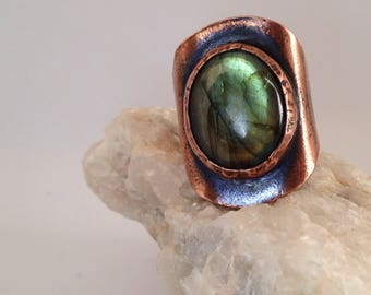 Copper and labradorite ring statement ring