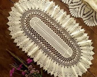 Oval doily crochet  milk color doily Crocheted doily oval Lace doily Crochet table topper oval large doily oval table doilies