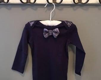 Baby bodysuit with paisley bow tie