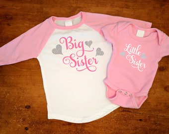 Big Sister Little Sister Swirl Hearts - Matching Set - Pink Baseball Shirt & Pink Bodysuit