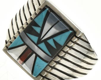 Inlaid Native American Mens Silver Ring Sizes 10.5 to 14