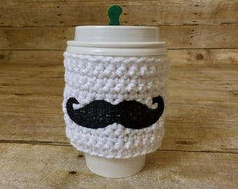 Mustache Cup Cozy - coffee, mustache gift, cup sleeve, accessories, cup cover, coffee cup cozy, tea sleeve, cup bands