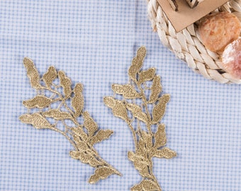 1 Pair Gold Embroidery Leaf Lace Applique DIY Trim Appliques Patch Clothing   Accessories, WL1665