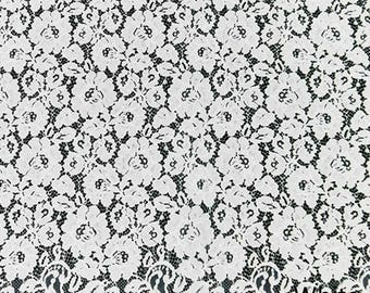 White Eyelash Flower Lace Fabric Lace Trim 59.05 Inches Wide 1.64 Yards/ Craft Supplies, WL1442