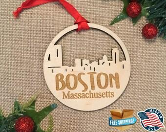 Boston Massachusetts Ornament *** Skyline Christmas Holiday Ornament *** MA