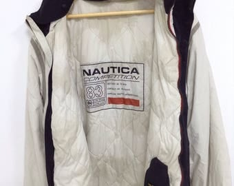 Sale Vintage Nautica Competition 83 Jacket Hoodies Button down and Zipper Spell out Double Pocket Rare Design Size Large