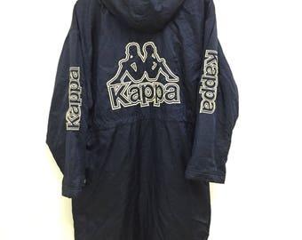 Rare Vintage Kappa Long Jacket Hoodies Shepa Lining Big Embroidery Logo Spell Out Nice Design Size Medium