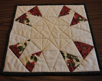 Christmas Candle Mat, Quilted Candle Mat, Poinsettia Candle Mat, Square Table Mat, Table Decor