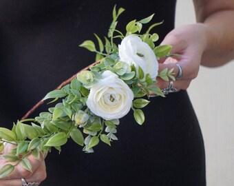 Flower crown wedding, white flower crown, bridal headband, greenery crown, floral headpiece
