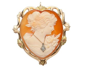 "Estate 10K HEAVY Gold Carved Shell Heart en Habille Diamond Cameo Pendant Convertible Brooch Pin 9g Victorian 1-3/8"" Marked 10 k kt ESEMCO"